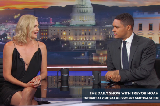 TREVOR NOAH CHATS TO CHARLIZE THERON TONITE ON HIS SHOW
